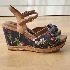 Navy blue canvas wedge sandals